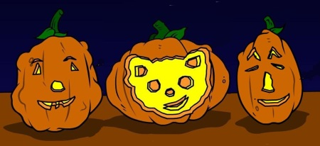 Jack-o-lantern trio.  Can you guess who's in the middle?