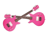 This is a pair of pink electric guitars