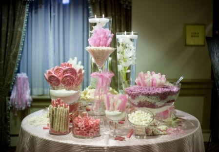 This is a pink buffet table Image  courtesy of www.elizabethannedesigns.com